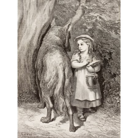 Scene From Little Red Riding Hood By Charles Perrault Little Red Riding Hood Meets The Wolf In The Forest And Tells Him She Is Going To Visit Her Grandmother After - Red Riding Hood And Wolf Couple Costume