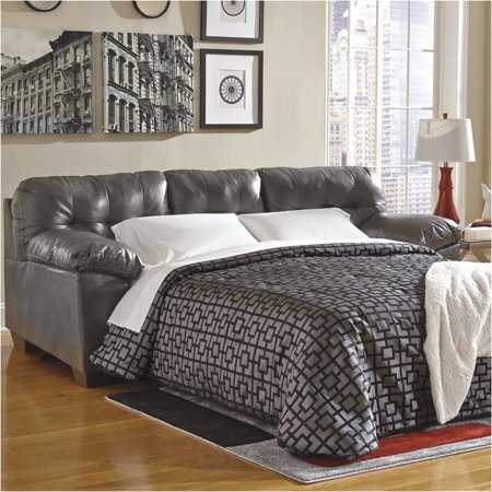 Bowery Hill Leather Queen Sleeper Sofa in (Onyx Queen Sleeper)