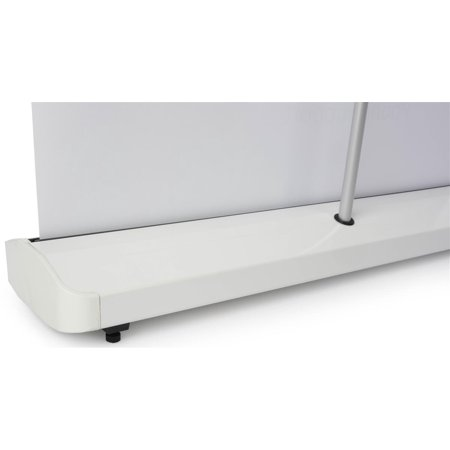 Displays2go Portable Banner Stand Systems, Telescoping Pole, Carry Case, Aluminum & Plastic Build - White -