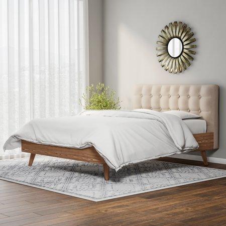 Baxton Studio Carson Carrington Harjavalta Mid Century Upholstered Walnut Wood Platform Bed Queen