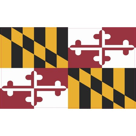 State Flag Bumper Sticker - 5in x 3in Maryland State Flag Bumper Sticker Vinyl State Flag Vehicle Decal