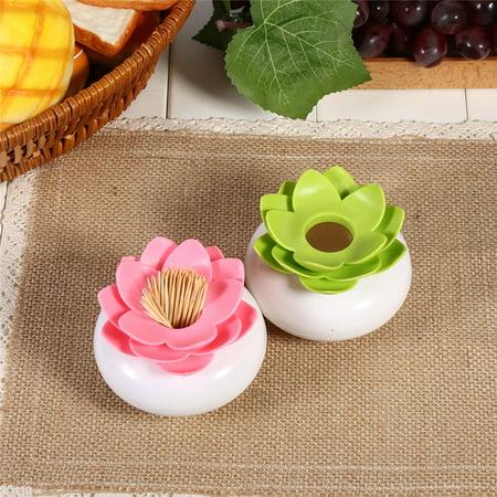 Bloss Cotton Swab Holder,YMIKO Bloss Cotton Swab Holder Q-tip Storage Lotus Organizer Box Clear Lid Hot(Green)