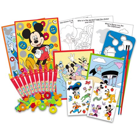 Mickey Mouse And Minnie Deluxe Activity Art Can Coloring Painting Stencils Stickers