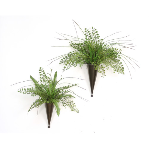 Distinctive Designs 2 Piece Maiden Hair Fern, Grass Hanging Plant in Decorative Vase Set