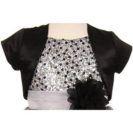 Girl Dress Coat (BNY Corner Flower Girl Dress Coat with Satin & Short Sleeve Big Girl Black 10)