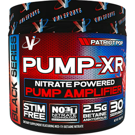 VMI Sports Pump-XR Nitric Oxide Boosting Pre Workout Powder, Intense Pumps, Vascularity and Strength, Stimulant Free, Patriot Pop, 30