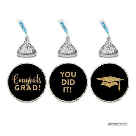 Chocolate Drop Labels Trio, Fits Hershey's Kisses Party Favors, Congrats Grad! Black and Gold Glitter, - Graduation Favor Ideas