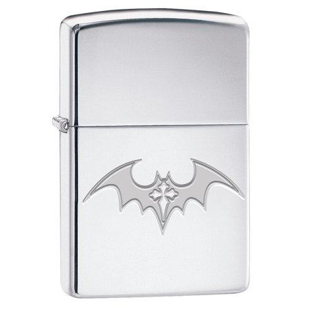 Zippo Lighter: Engraved Bat Cross - High Polish Chrome 79938 (Zippo Engraved Cross)