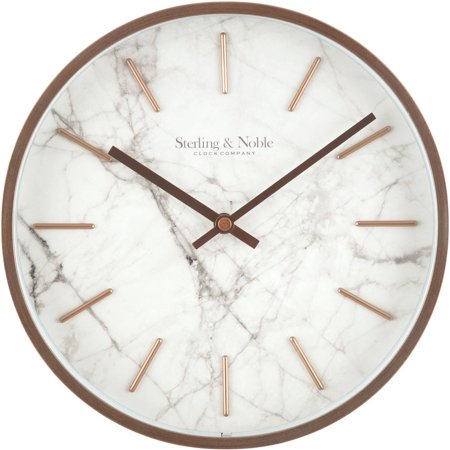 Mainstays Rose Gold And Marble Wall Clock Walmart Com