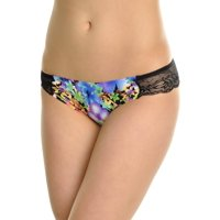 Angelina Laser Cut Low Rise Bikini Panties with Floral Lace Back (6-Pack)