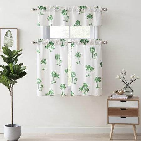 Mainstays Palm Tree Kitchen Curtain Set - Palm Tree Bamboo Curtain