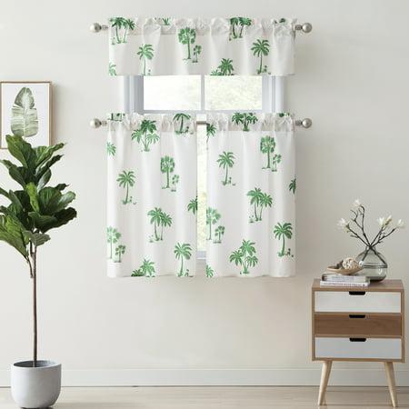 mainstays palm tree kitchen curtain set - walmart