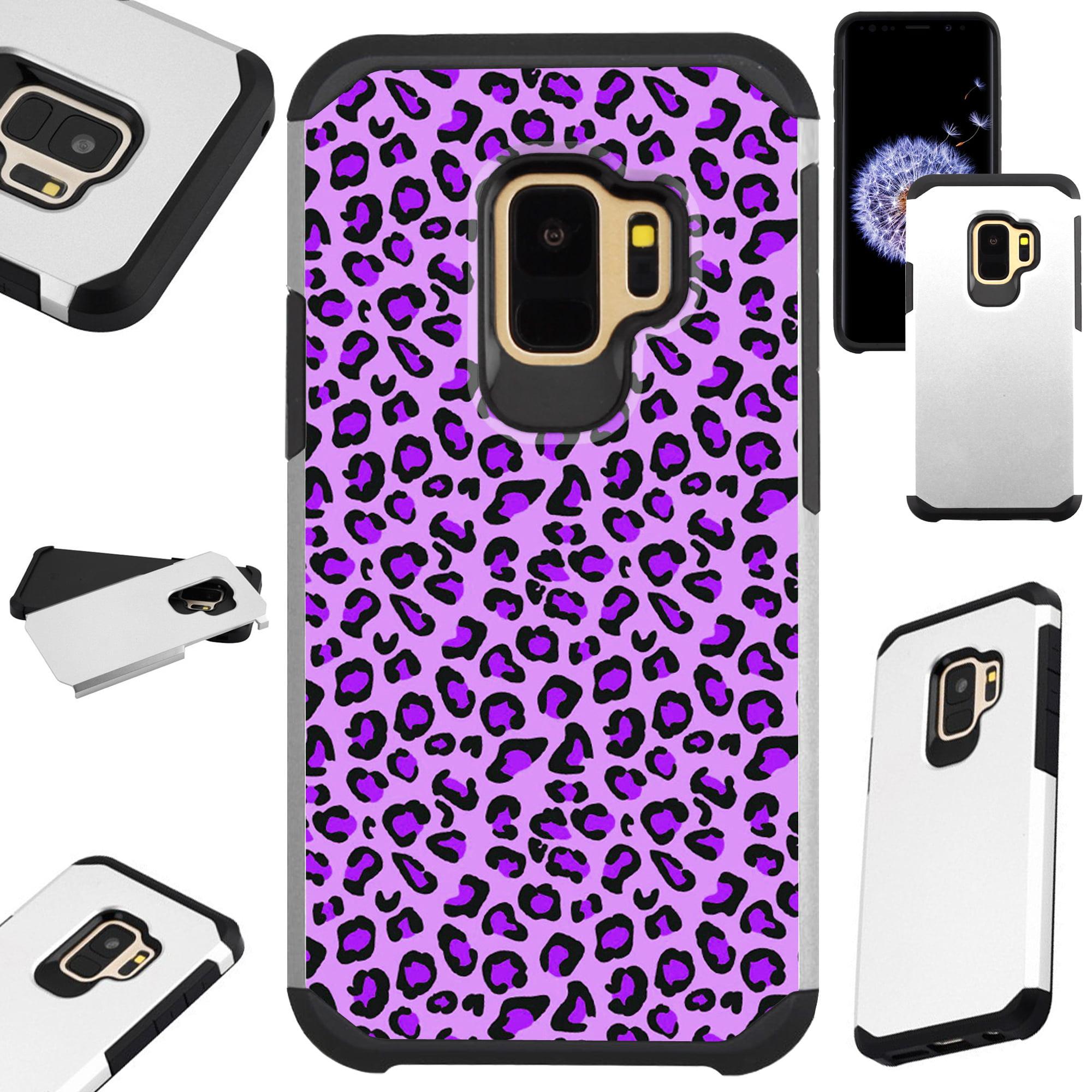 For Samsung Galaxy S9 Plus / Samsung Galaxy S9+ Case Hybrid TPU Fusion Phone Cover (Purple Leopard Skin)