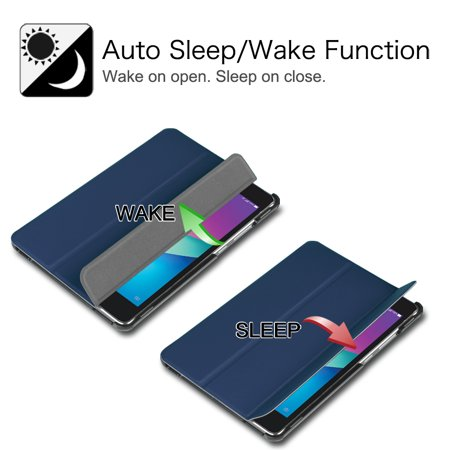 Fintie SlimShell Case for Verizon ASUS ZenPad Z8s (ZT582KL) - Ultra Lightweight Stand Cover W/ Auto Wake/Sleep, Navy - image 5 de 7