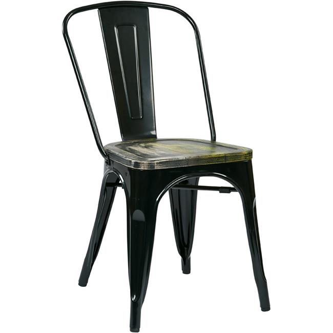 Avenue 6 Office Star BRW293A4-C301 Bristow Metal Chair with Vintage Wood Seat, Black Finish Frame & Ash Cameron Finish Seat, 4 Pack