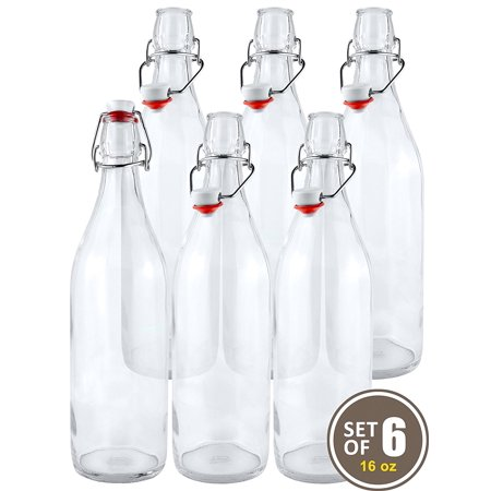 Estilo Swing Top Easy Cap Clear Glass Beer Bottles,16 oz, Set of 6