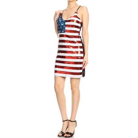 Patriotic Dress Womens (Womens Spaghetti Strap Sleeveless USA American Flag Patriotic Sequin)
