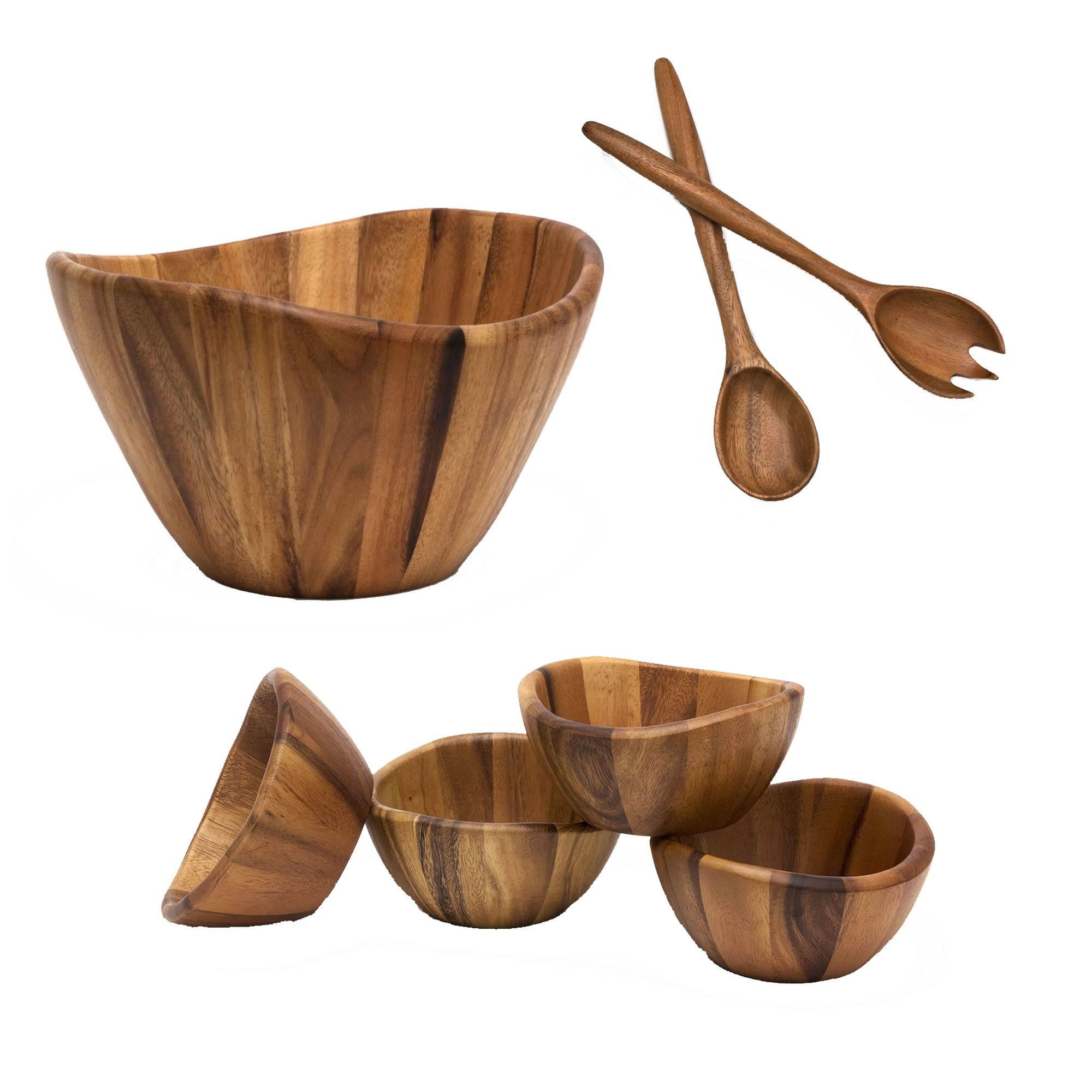 Lipper International Acacia Wooden Serving Bowl Bowl Set And Salad Servers Walmart Com Walmart Com