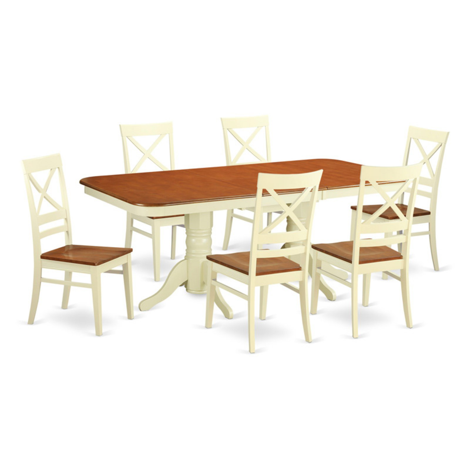 East West Furniture Napoleon 7 Piece Dining Table Set with Quincy Wooden Chairs
