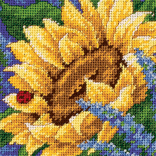 "Jiffy Sunflower And Ladybug Mini Needlepoint Kit, 5"" x 5"" Stitched In Thread"
