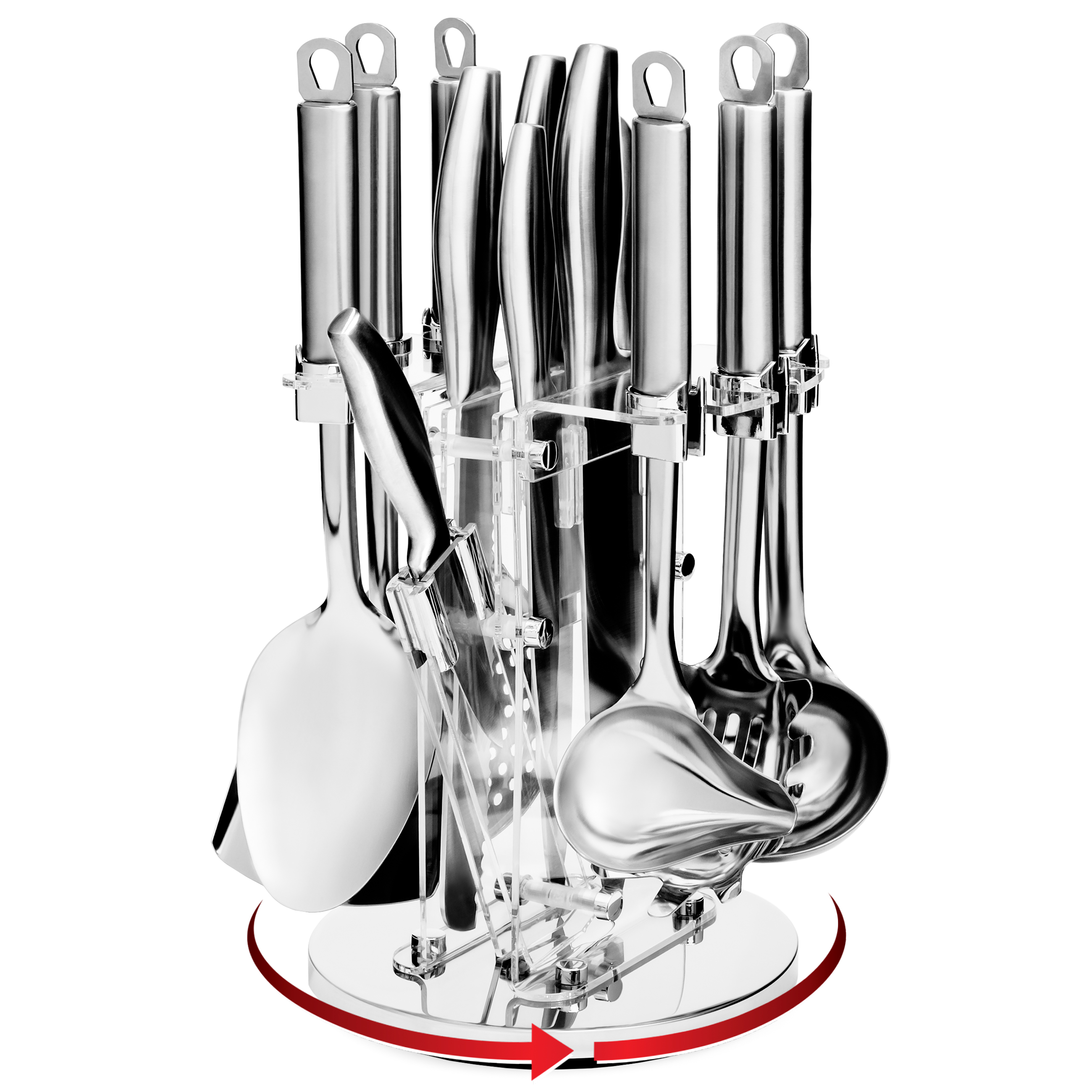 Best Choice Products 13-Piece Stainless Steel Kitchen Cooking Utensils w/ Knife Set and Rotating Display Stand - Silver