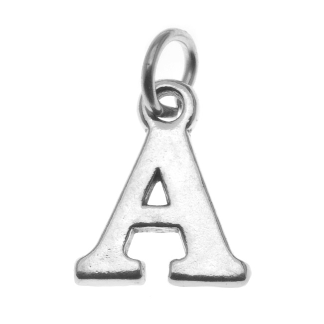Sterling Silver Alphabet Charm, Initial Letter 'A' 16mm, 1 Piece, Silver