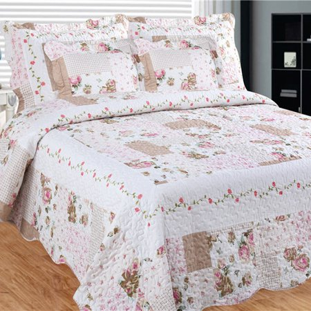 Image of Bay colony quilts by Patch Magic Camellia Main Queen Quilt with two pillow shams set