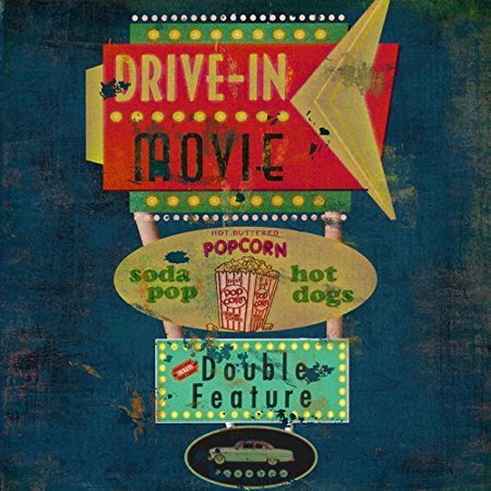 Retro Drive  Movie Theater 12x12 Vintage Art Print Poster by Marilu Windvand (Movie Theater Poster Frames)