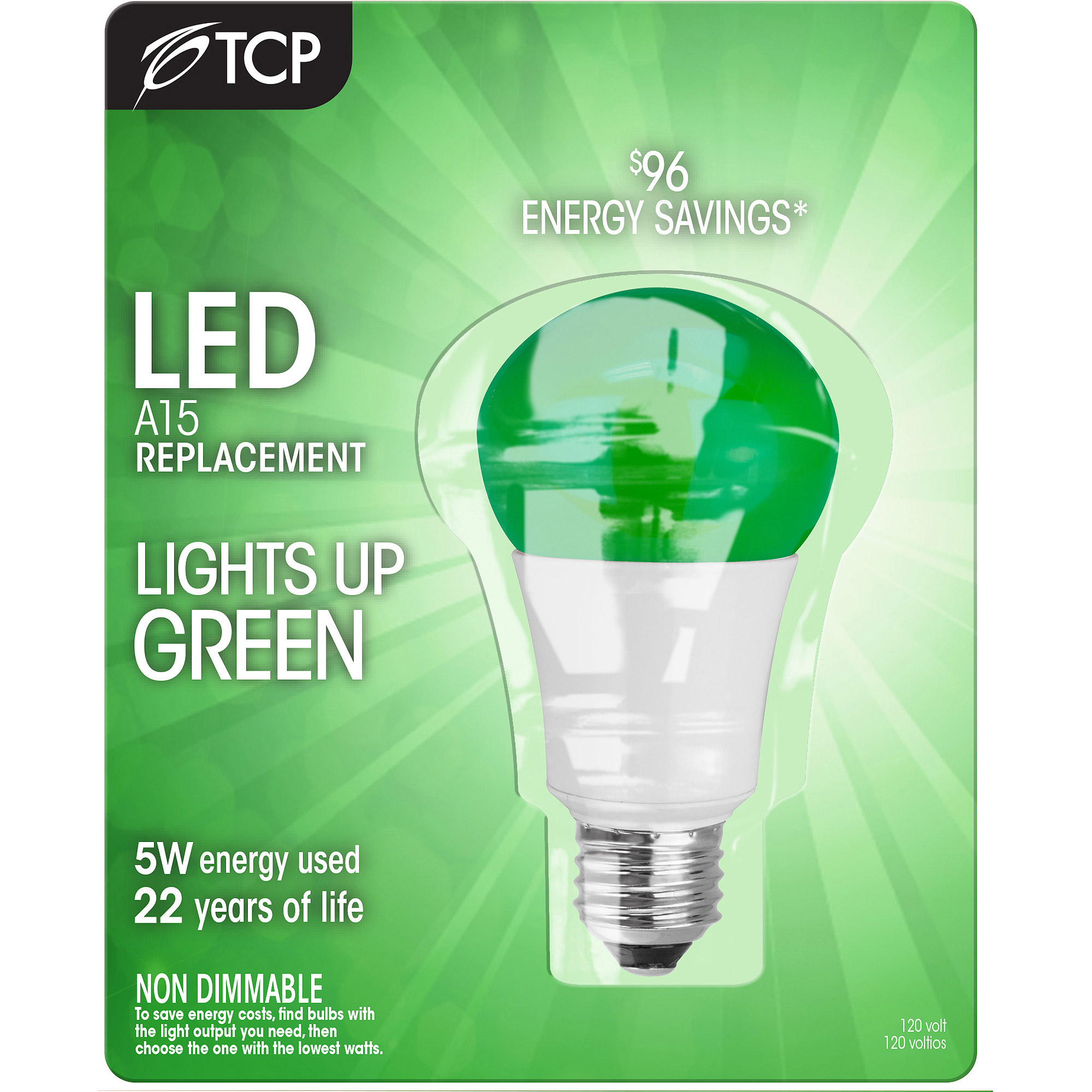 Great Value LED Light Bulb 5W (40W Equivalent) A15 (E26), Green