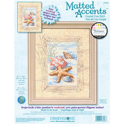 "Dimensions Matted Accents Shells In The Sand Counted Cross Stitch Kit, 8"" x 10"" mat, 4"" x 6"" opening"