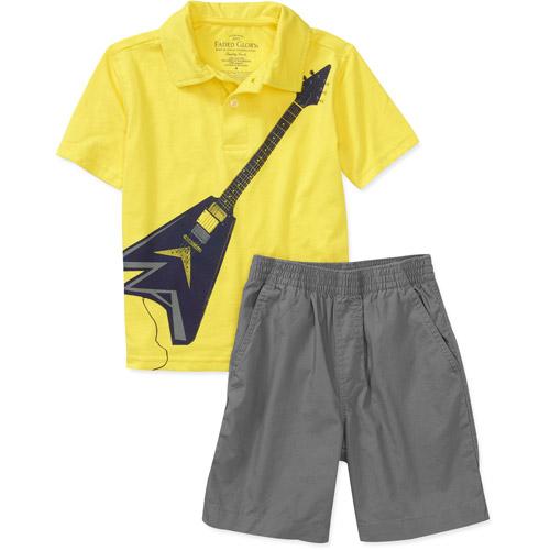 Faded Glory Boys 2-Piece Short Sleeve Polo Shirt and Shorts