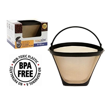 GoldTone Brand Reusile #4 Cone replaces your Ninja Coffee Filter for Ninja Coffee Bar Brewer - BPA Free - Made in USA