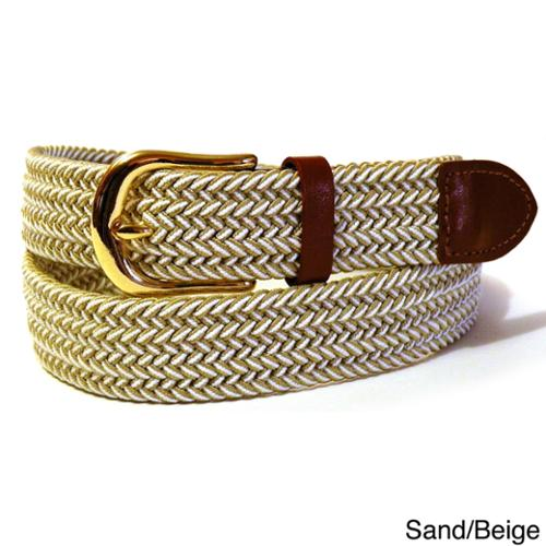 "Men's Twin Color Stretch Belt Small Brown/Beige 30"" - 32"""