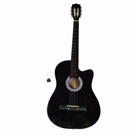 Clearance!38 Inch Cutaway Acoustic Guitars with Guitar Plectrum Black