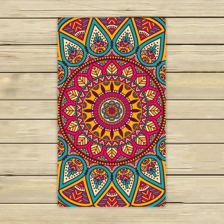 Phfzk Indian Vintage Style Towel Floral Mandala Bohemian