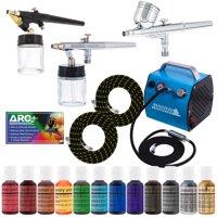 Pro CAKE DECORATING SYSTEM 3 Airbrush Kit 12 Color Food Coloring Set Compressor