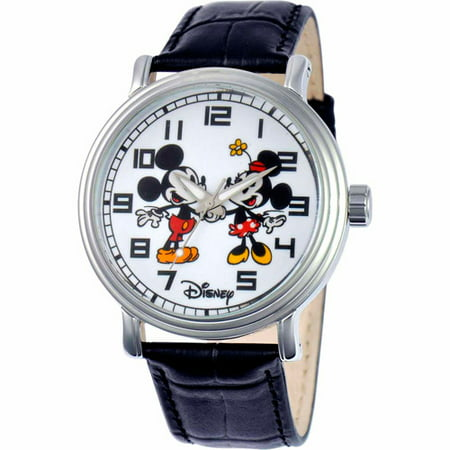 Mickey/Minnie Mouse Men's Vintage Watch, Black Strap