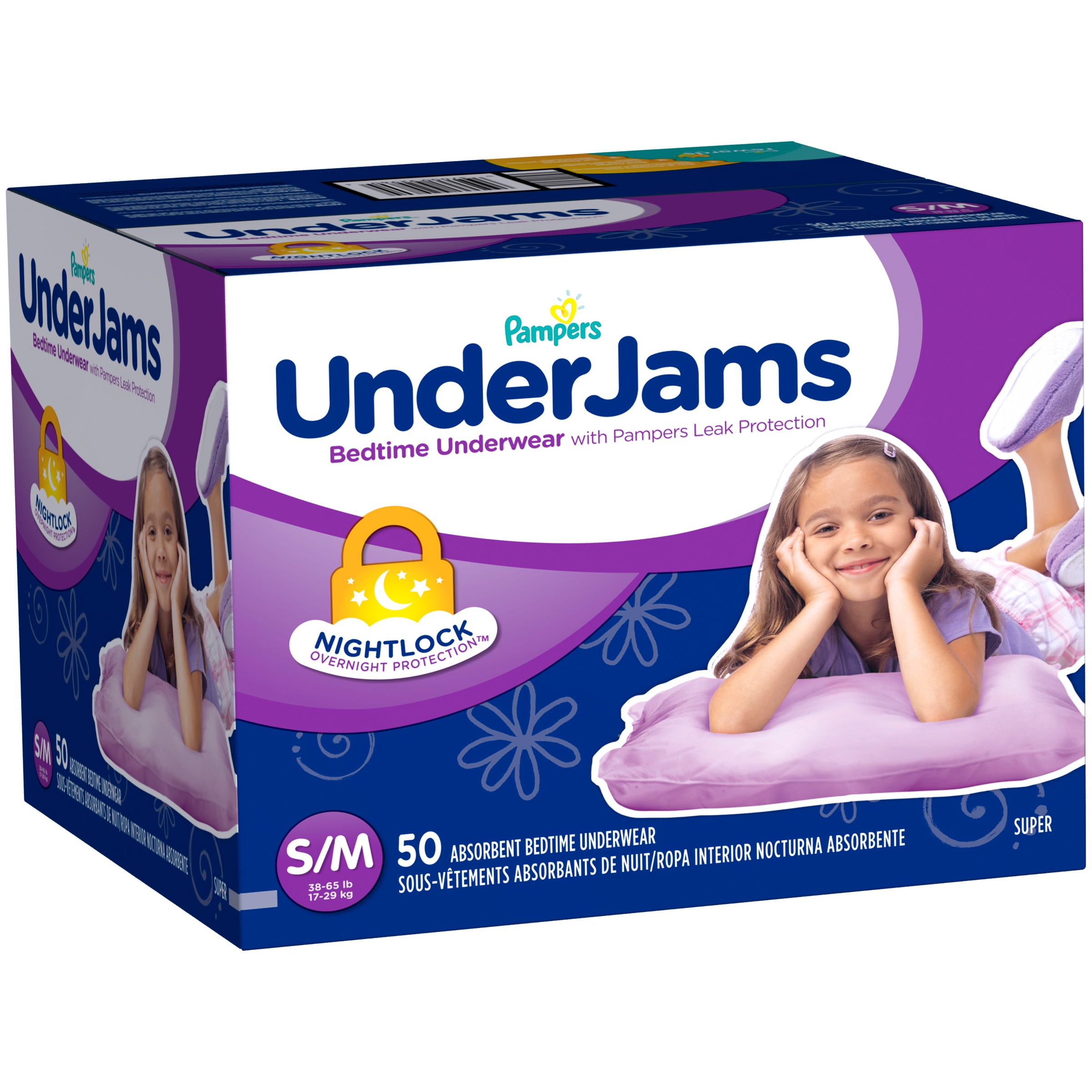Pampers UnderJams Girls' Absorbent Bedtime Underwear (Choose Size and Count)