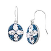 Crystaluxe Oval Drop Earrings with Teal & White Swarovski Crystals in Sterling Silver