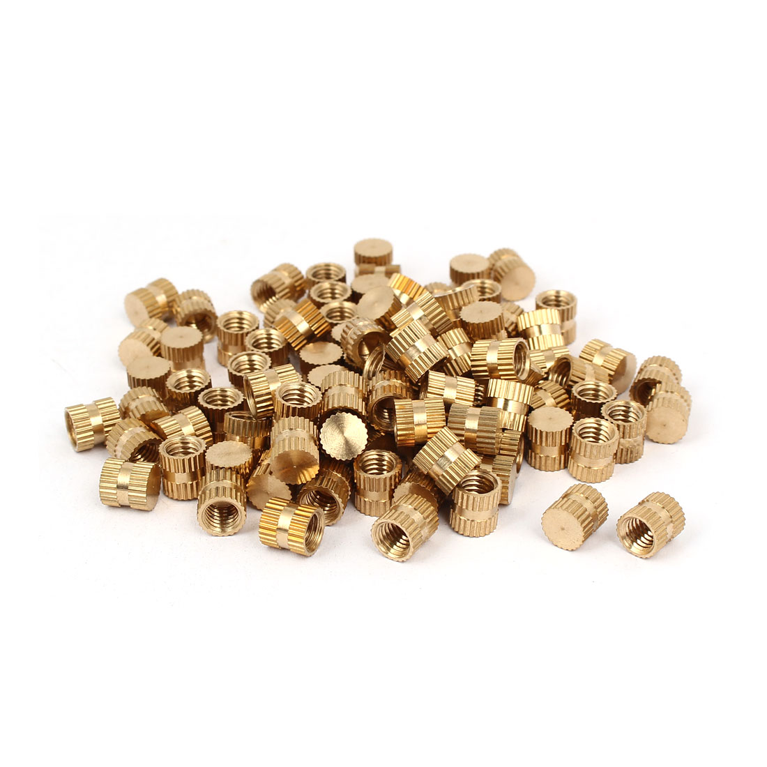 M6 x 8mm 7.8mm OD Brass Injection Molding Insert Knurled Thumb Nut 100PCS - image 3 of 3