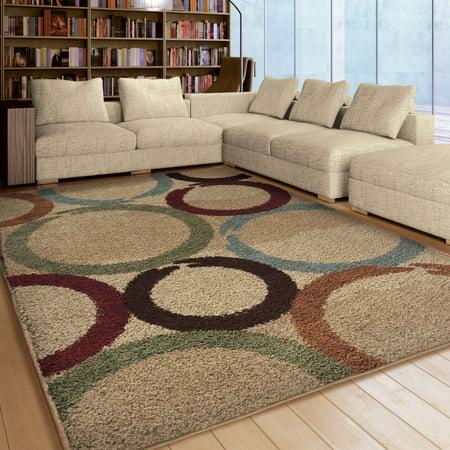 - Orian Rugs Soft Shag Circles Coaster Ring Multi-Colored Area Rug