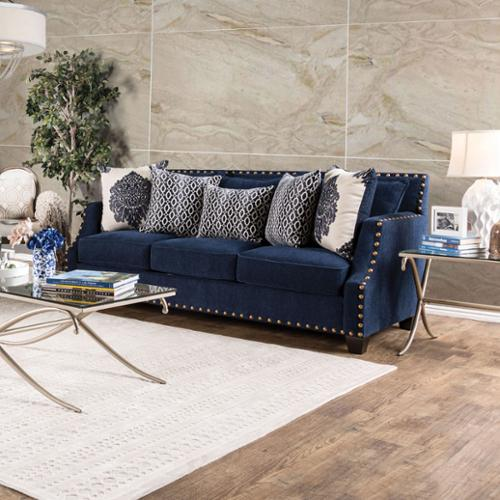Furniture of America Rita Contemporary Nailhead Sloped Arm Sofa Navy