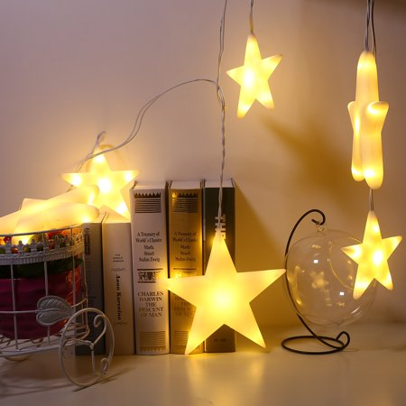2M/7FT 60LED Newest Connectable Warm White Big Star Fairy Curtain Light UL Listed Indoor Outdoor Decoration for Festival Christmas - Indoor Halloween Decorations