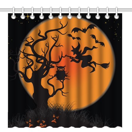 POP Abstract Halloween Tree and Orange Moon Silhouette Art Waterproof Polyester Fabric Shower Curtain Bathroom Bath Curtains 66x72 inches