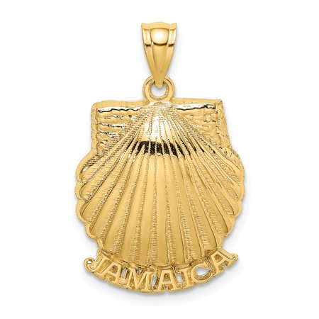 14k Yellow Gold 2-D JAMAICA UNDER SCALLOP SHELL Charm Pendant