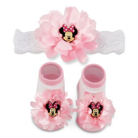 Disney Minnie Mouse Flower Headwrap and Booties Gift Set, Baby Girls, Ages (Disney Character Slippers)
