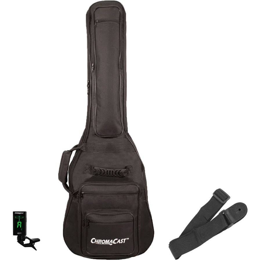 ChromaCast Padded Electric Guitar Gig Bag with Guitar Strap and Clip-On Tuner
