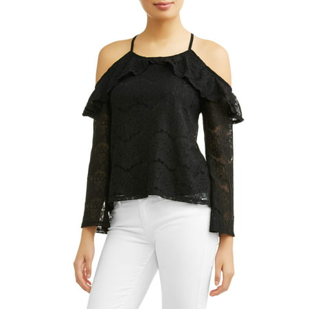 Little Tee Tee Lace And Trims (Juniors' All Over Lace Ruffle Cold Shoulder Trim)