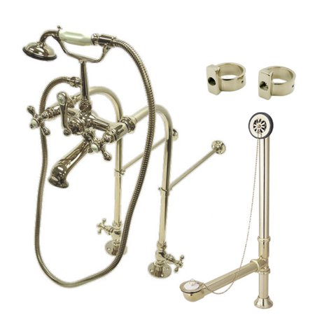 Kingston Brass Vintage Freestanding Clawfoot Tub Faucet Package with Metal Cross Handles Aqua Brass Prestige Handles