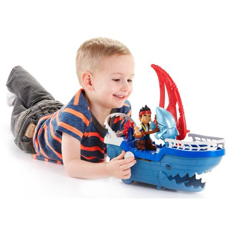 Fisher-Price - Disney Captain Jake and the Never Land Pirates - Shark Strike Sea Ship, Roll ship or slide knob for battle action By FisherPrice Ship from US (Jake Pirate Ship)